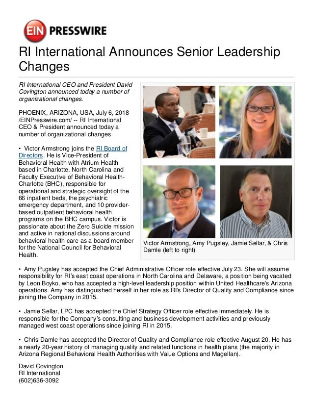 RI International Announces Senior Leadership Changes Victor Armstrong, Amy Pugsley, Jamie Sellar, & Chris Damle (left to r...