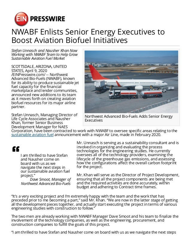 NWABF Enlists Senior Energy Executives to Boost Aviation Biofuel Initiatives Northwest Advanced Bio-Fuels Adds Senior Ener...