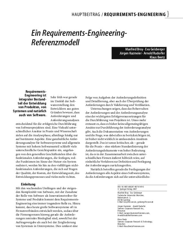 HAUPTBEITRAG / REQUIREMENTS-ENGINEERING                                          }             Ein Requirements-Engineerin...