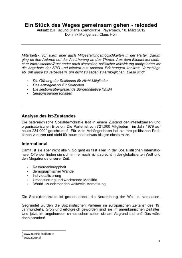 Ein Stück des Weges gemeinsam gehen - reloaded             Aufsatz zur Tagung (Partei)Demokratie, Payerbach, 10. März 2012...