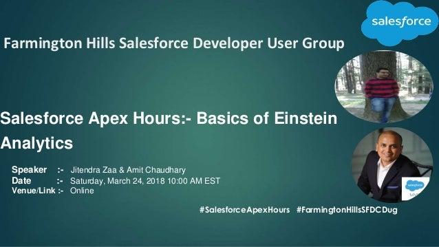 Farmington Hills Salesforce Developer User Group Salesforce Apex Hours:- Basics of Einstein Analytics #SalesforceApexHours...