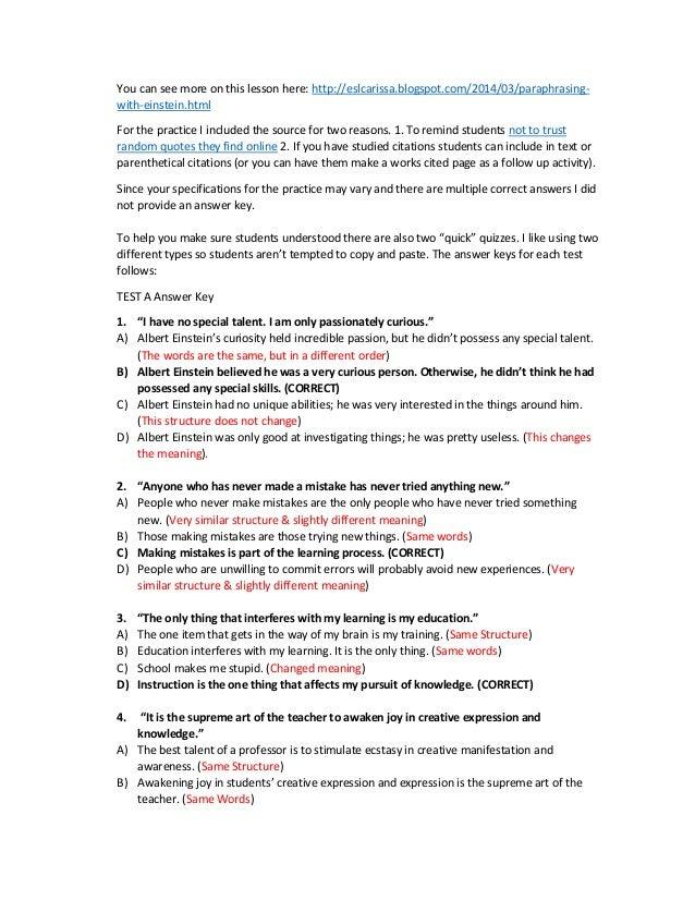 Einstein paraphrasing – Paraphrasing Practice Worksheet
