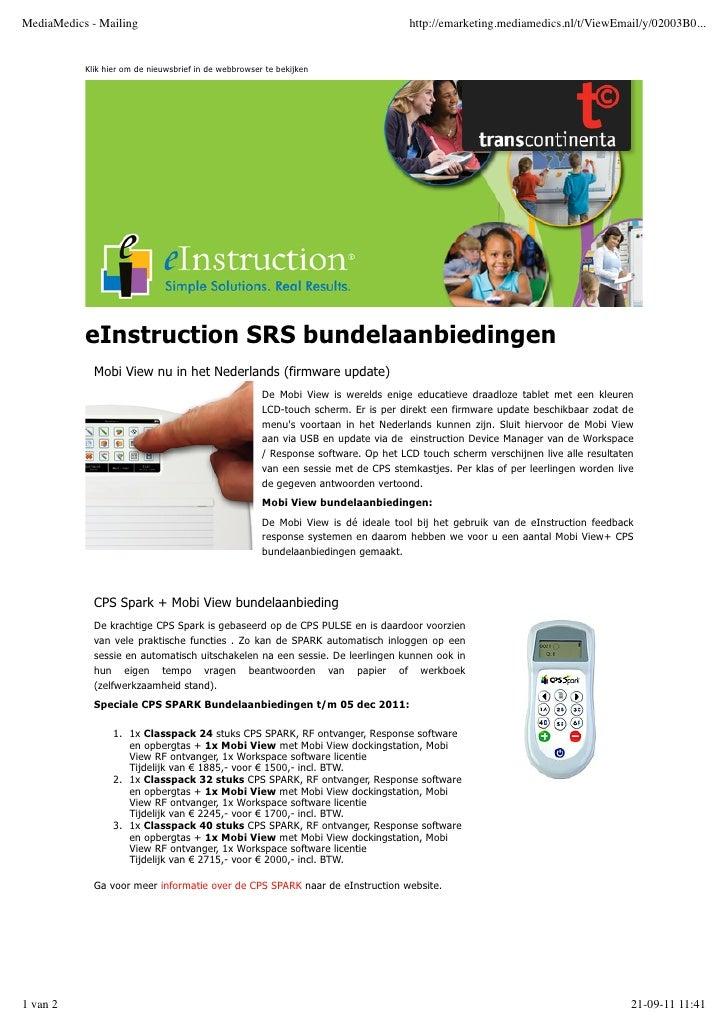 eInstruction SRS bundelaanbiedingenMobi View nu in het Nederlands (firmware update)                                  De Mo...