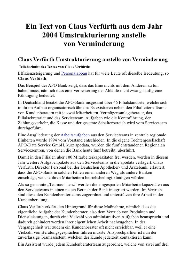 Ein Text von Claus Verfürth aus dem Jahr         2004 Umstrukturierung anstelle               von VerminderungClaus Verfür...