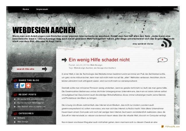 se arch t his sit e SHARE THIS BLOG RECENT POSTS Ein wenig Hilfe schadet nicht Karrierewunsch Webdesigner Was Aachen alles...
