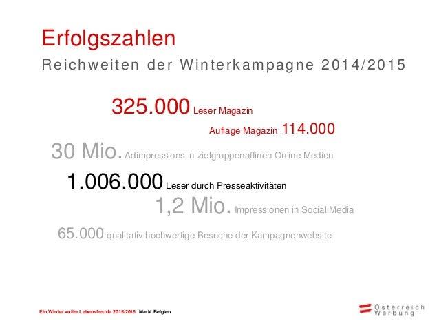 Ein Winter voller Lebensfreude 2015/2016 Markt Belgien > Marketingmix & Budgetbündelung Ihr Angebot wird in unterschiedlic...