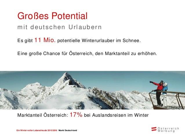 Ein Winter voller Lebensfreude 2015/2016 Markt Deutschland Ein Winterurlaub mit allen Sinnen Urlaubsbedürfnisse der deutsc...