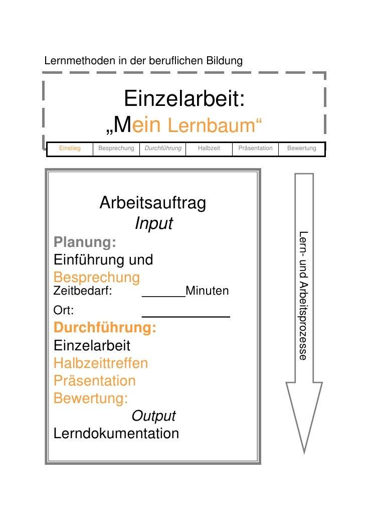 """Lernmethoden in der beruflichen Bildung                    Einzelarbeit:                """"Mein Lernbaum""""   Einstieg   Bespr..."""
