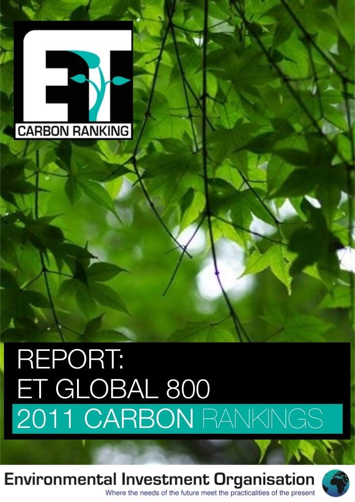 REPORT:ET GLOBAL 8002011 CARBON RANKINGS