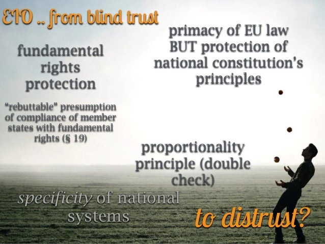 """EIO .. fro m blin d trus t fundamental rights protection   """"rebuttable"""" presumption of compliance of member states with fu..."""