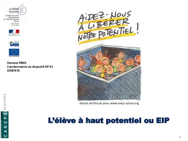 L'élève à haut potentiel ou EIP  1  Florence PÂRIS  Coordonnatrice du dispositif EIP 91  DSDEN 91  Dessin de Pécub pour ww...