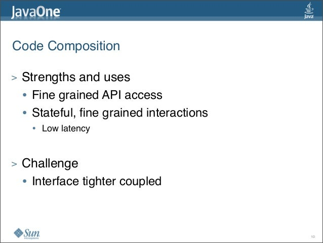 Code Composition > Strengths and uses • Fine grained API access • Stateful, fine grained interactions • Low latency > Chall...