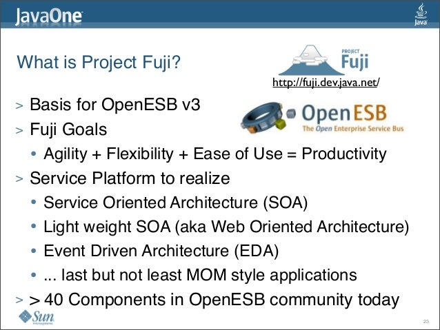 What is Project Fuji? > Basis for OpenESB v3 > Fuji Goals • Agility + Flexibility + Ease of Use = Productivity > Service...