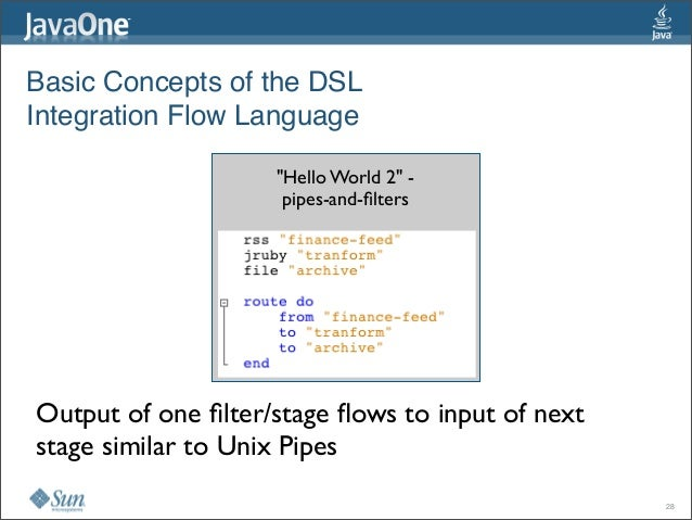 """Basic Concepts of the DSL Integration Flow Language """"Hello World 2""""- pipes-and-filters Output of one filter/stage flows to ..."""
