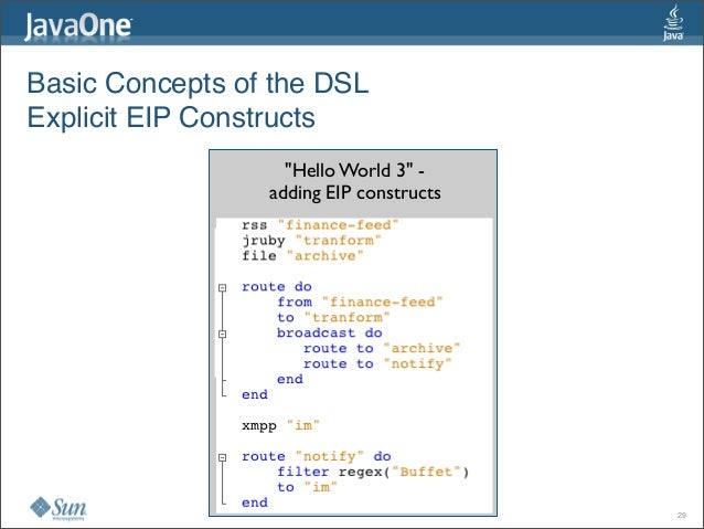 """Basic Concepts of the DSL Explicit EIP Constructs """"Hello World 3""""- adding EIP constructs 29"""