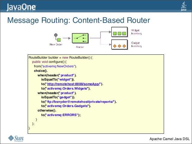 Message Routing:Content-Based Router 31 RouteBuilder builder = new RouteBuilder() {   public void configure() {    fr...