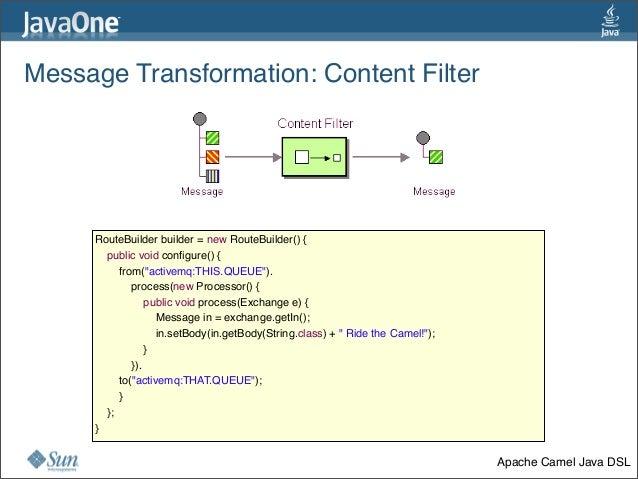 Message Transformation:Content Filter 35 RouteBuilder builder = new RouteBuilder() {   public void configure() {    ...