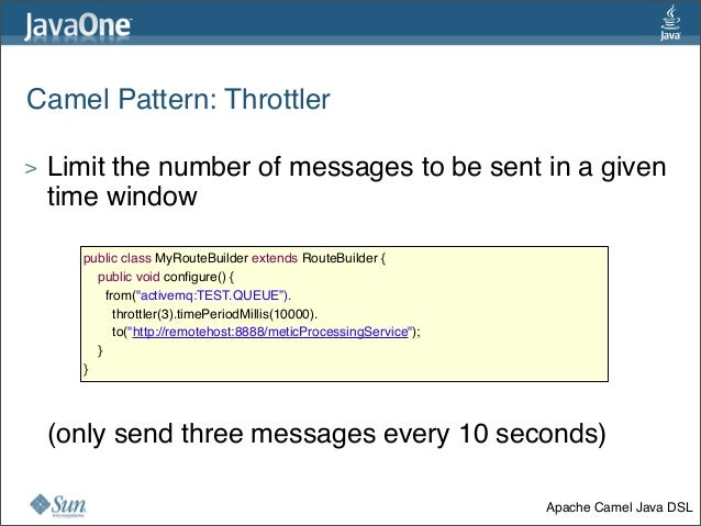 Camel Pattern:Throttler > Limit the number of messages to be sent in a given time window > (only send three messages ever...