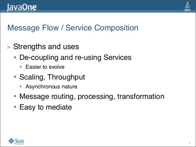 Message Flow / Service Composition > Strengths and uses • De-coupling and re-using Services • Easier to evolve • Scaling, ...