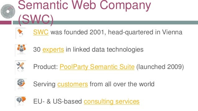 Semantic Web Company (SWC) SWC was founded 2001, head-quartered in Vienna 30 experts in linked data technologies Product: ...