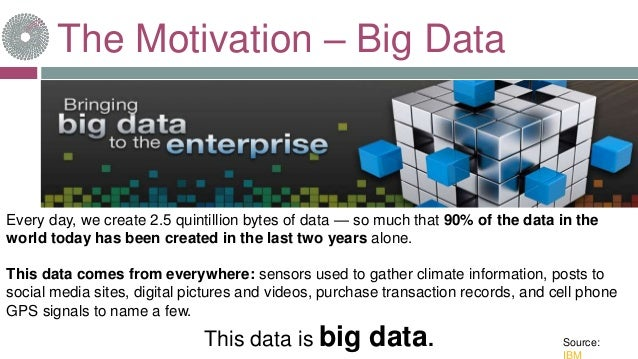 The Motivation – Big Data Every day, we create 2.5 quintillion bytes of data — so much that 90% of the data in the world t...