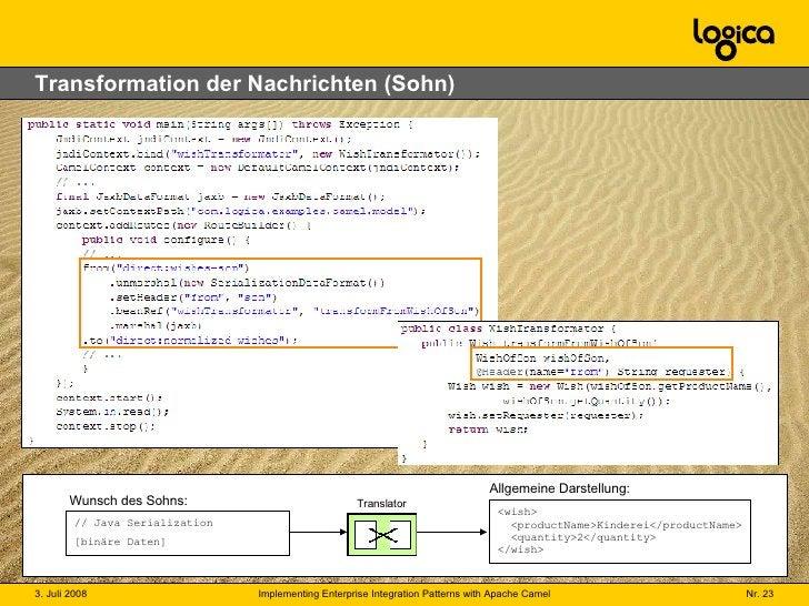 Transformation der Nachrichten (Sohn) // Java Serialization [binäre Daten] Wunsch des Sohns: <wish>   <productName>Kindere...