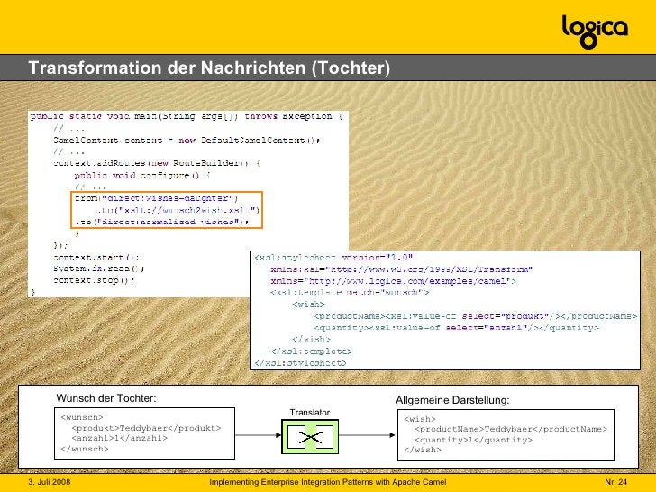 Transformation der Nachrichten (Tochter) <wunsch>   <produkt>Teddybaer</produkt>   <anzahl>1</anzahl> </wunsch> Wunsch der...
