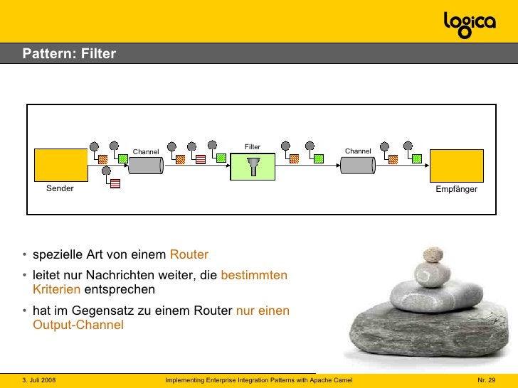 Pattern: Filter <ul><li>spezielle Art von einem  Router </li></ul><ul><li>leitet nur Nachrichten weiter, die  bestimmten K...