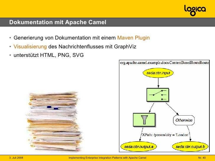Dokumentation mit Apache Camel <ul><li>Generierung von Dokumentation mit einem  Maven Plugin </li></ul><ul><li>Visualisier...