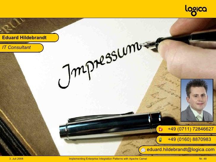Eduard Hildebrandt +49 (0160) 8870983 +49 (0711) 72846627 [email_address] IT Consultant
