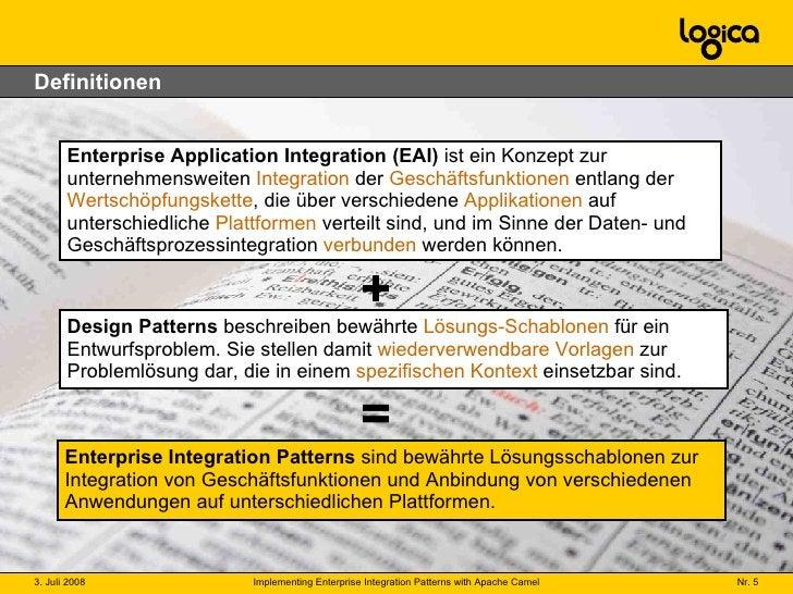 Definitionen Enterprise Application Integration (EAI)  ist ein Konzept zur unternehmensweiten  Integration  der  Geschäfts...