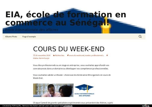 EIA, école de formation en  commerce au Sénégal!  Ecole internationale des affaires  Albums Photo Page d'exemple  COURS DU...