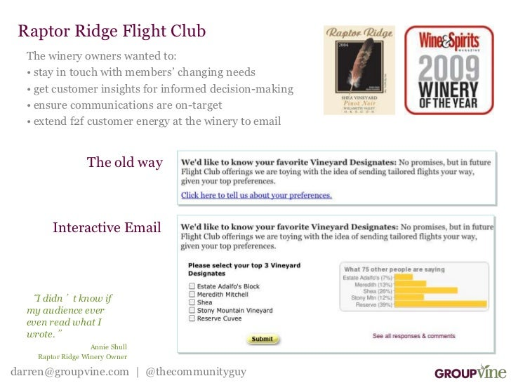Raptor Ridge Flight Club<br />The winery owners wanted to:<br /><ul><li> stay in touch with members' changing needs