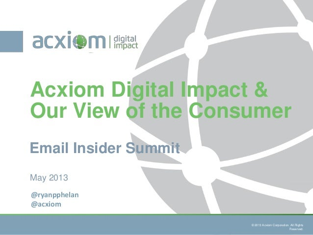 © 2013 Acxiom Corporation : Consumer Digital Behavioral Study. N=1,006All Rights Reserved.© 2013 Acxiom Corporation. All R...