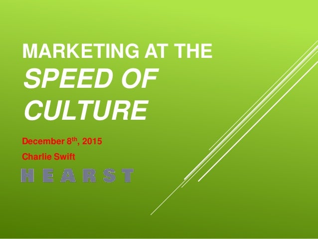 MARKETING AT THE SPEED OF CULTURE December 8th, 2015 Charlie Swift
