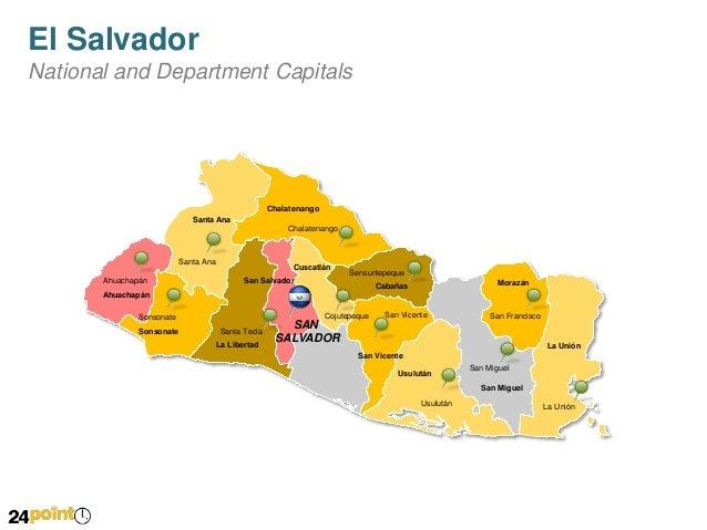 El Salvador Map PowerPoint Slides - Cities map el salvador map