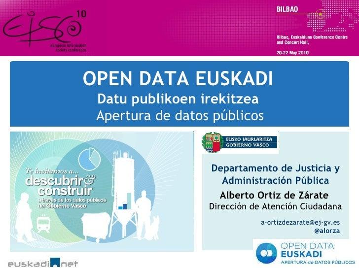 OPEN DATA EUSKADI Datu publikoen irekitzea  Apertura de datos públicos Departamento de Justicia y Administración Pública A...