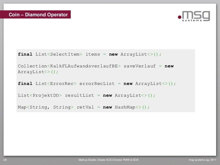 Coin – Diamond Operator        final List<SelectItem> items = new ArrayList<>();        Collection<KalkFLAufwandsverlaufBE...