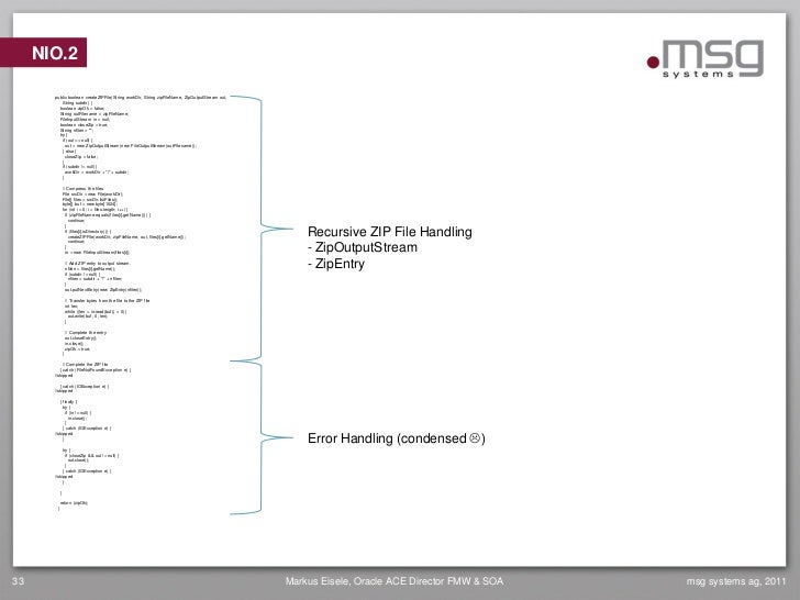 NIO.2       public boolean createZIPFile(String workDir, String zipFileName, ZipOutputStream out,           String subdir)...