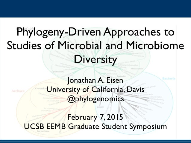 Phylogeny-Driven Approaches to Studies of Microbial and Microbiome Diversity Jonathan A. Eisen University of California, D...