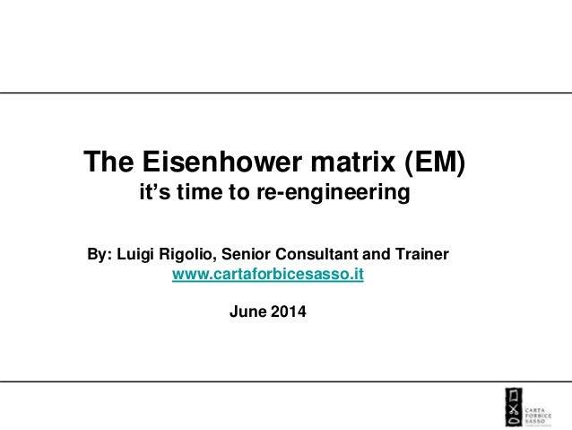 The Eisenhower matrix (EM) it's time to re-engineering By: Luigi Rigolio, Senior Consultant and Trainer www.cartaforbicesa...