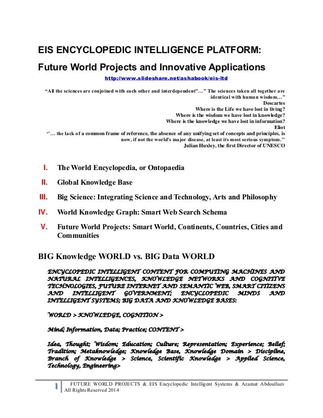 1 FUTURE WORLD PROJECTS & EIS Encyclopedic Intelligent Systems & Azamat Abdoullaev All Rights Reserved 2014 EIS ENCYCLOPED...
