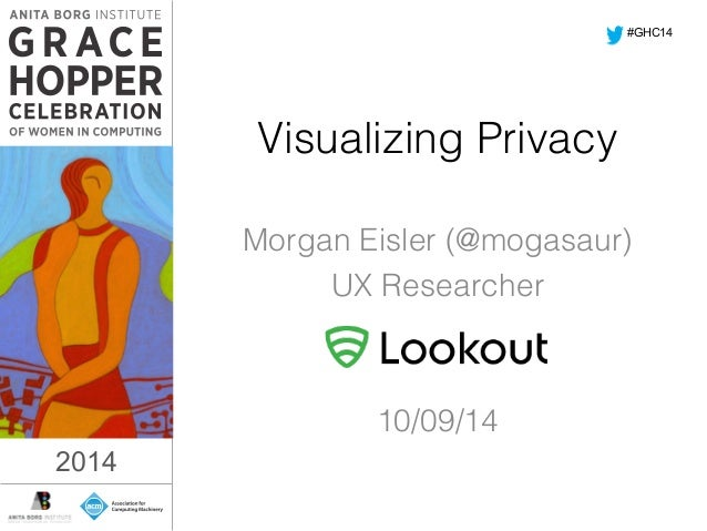 Visualizing Privacy!  Morgan Eisler (@mogasaur)!  UX Researcher!  2014  !  !  10/09/14!  #GHC14  2014