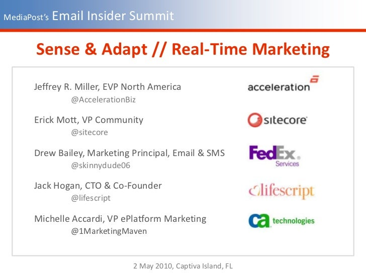 MediaPost's Email Insider Summit<br />Sense & Adapt // Real-Time Marketing<br />Jeffrey R. Miller, EVP North America<br />...