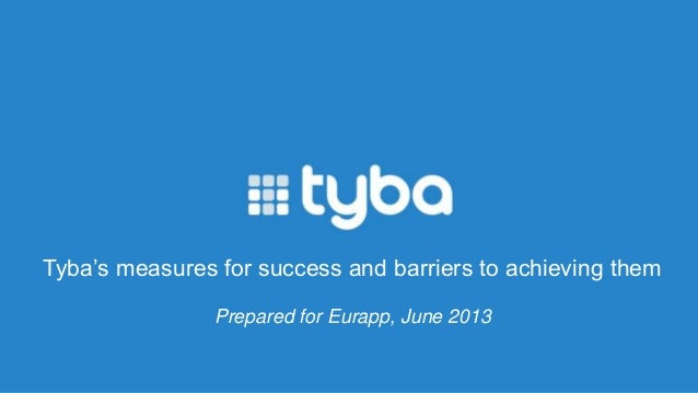 Tyba's measures for success and barriers to achieving them Prepared for Eurapp, June 2013