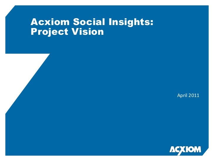 Acxiom Social Insights:Project Vision<br />April 2011<br />