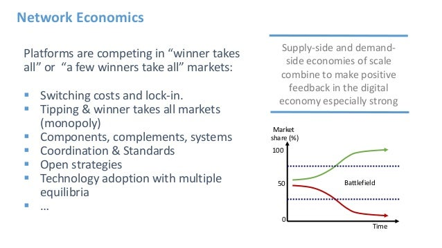 """Platforms are competing in """"winner takes all"""" or """"a few winners take all"""" markets:  Switching costs and lock-in.  Tippin..."""