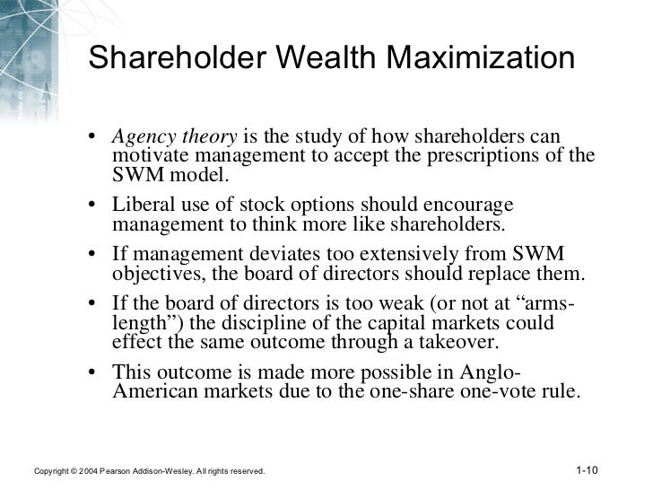 shareholder wealth maximization model That was 1992 today the us model -- namely that of corporate shareholder  wealth maximisation subject to the discipline of liquid stock markets -- is  triumphant.