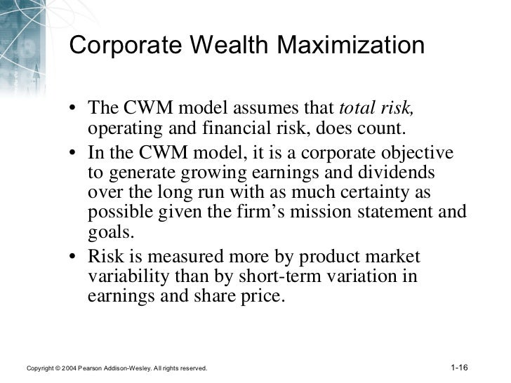 shareholder wealth maximization model essay The shareholder wealth maximization (swm) principle states that the   traditional profit-maximization model of the firm embeds the accrual concept of  net.