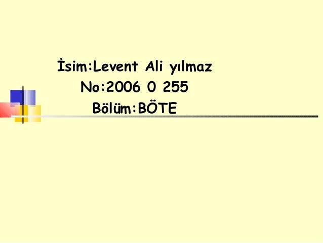 İsim:Levent Ali yılmaz   No:2006 0 255     Bölüm:BÖTE